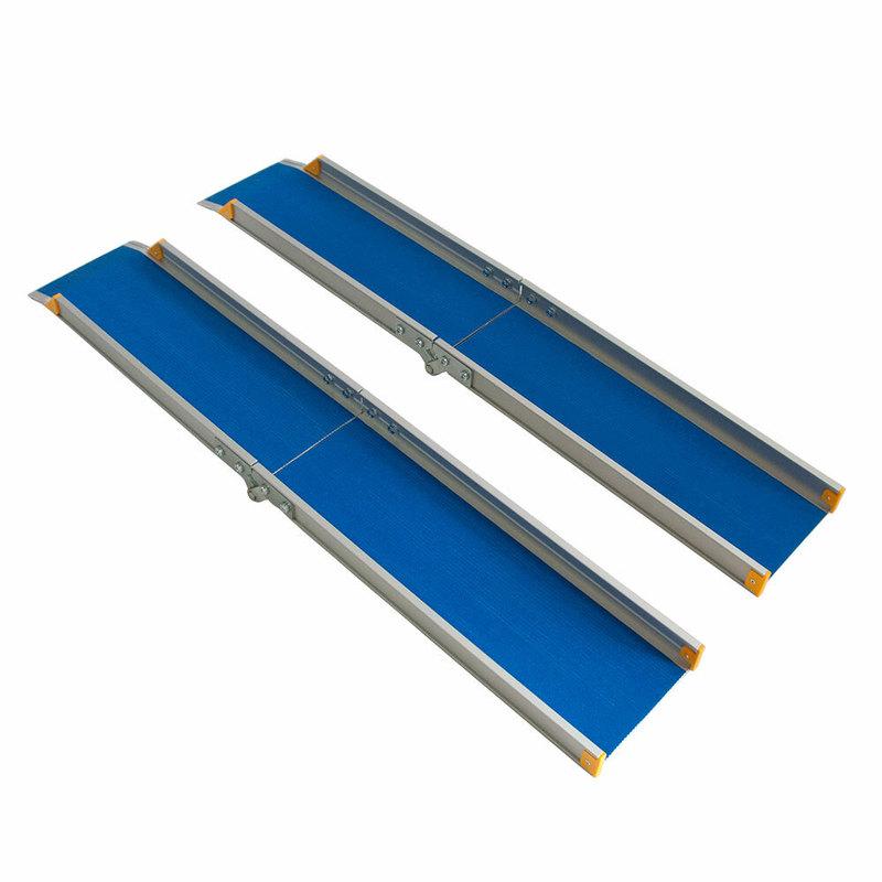 Пандус для инвалидных колясок складной Мега-Оптим ПС2 150 см, синий / серый, анодированный алюминий  - купить со скидкой