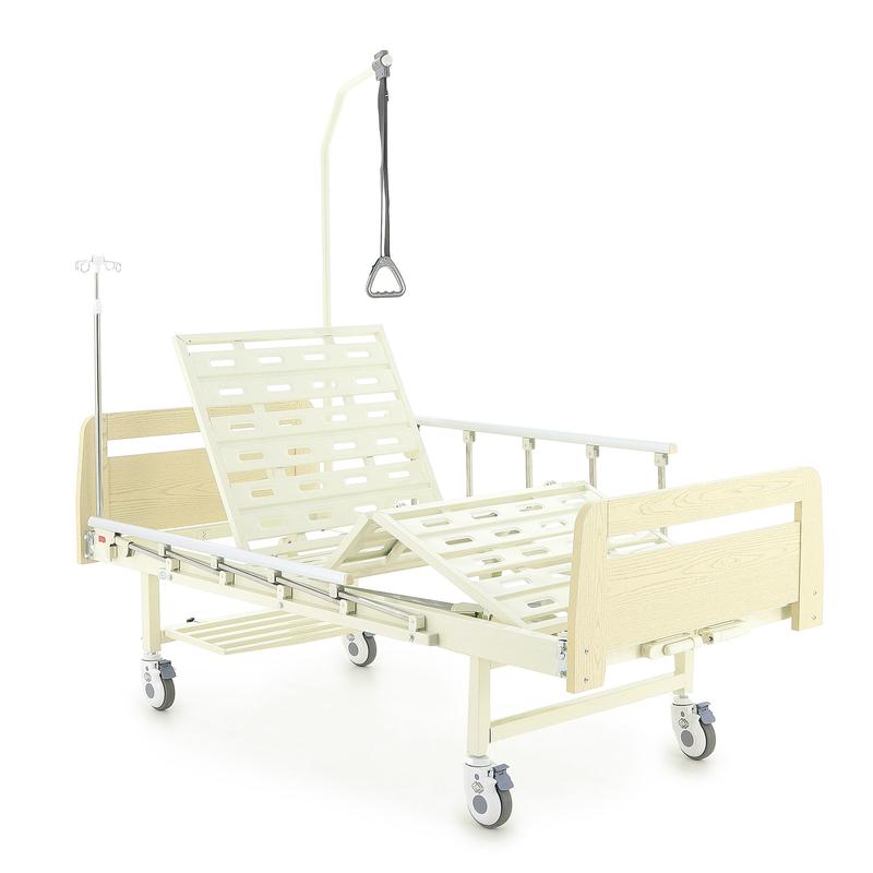 Купить Медицинская механическая кровать Med-Mos Е-8 (MМ-2014-Н0/Д0), каркас и ножки - высокопрочная сталь, стальные ламели, спинки - ABC пластик, боковые ограждения из алюминия