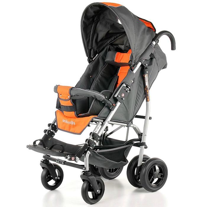 Купить Кресло-трость прогулочная для детей с ДЦП Vitea Care Umbrella New оранжево-серая / литые колеса